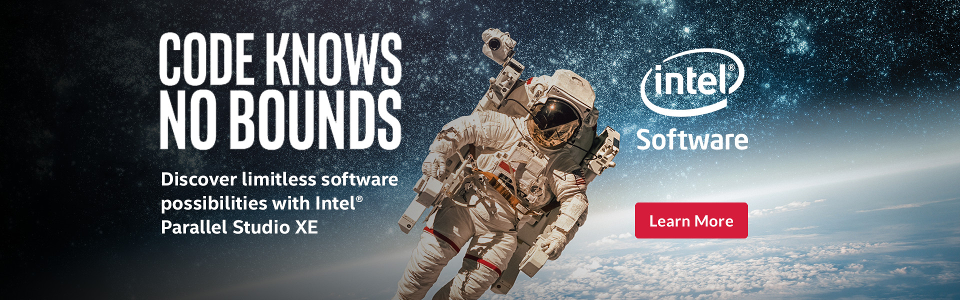 Person in space with text: Intel Software - Discover limitless software possibilities with Intel Parallel Studios XE